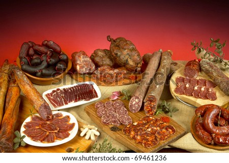 variety of Spanish cured meats