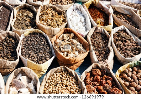 Variety of spices in local market in Pushkar. Rajasthan, India, Asia - stock photo
