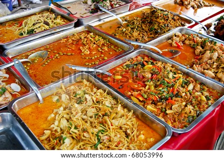 variety of thai food in fresh market, Asia, Thailand - stock photo
