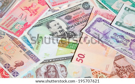Variety of the African banknotes - stock photo