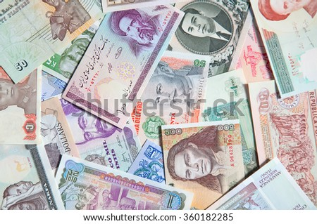 Variety of the international banknotes