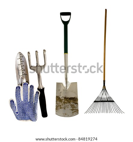 variety of tools for garden work on a white background - stock photo