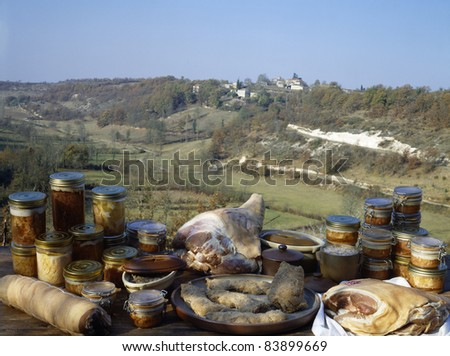 Variety of traditional products outdoors - stock photo