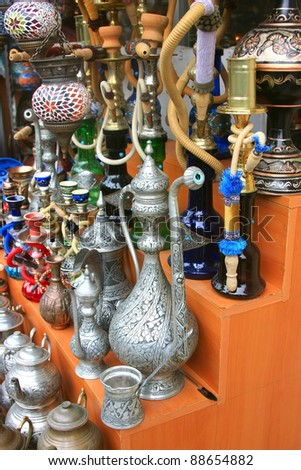 Variety of Turkish items on Sale in Grand Bazaar in Istanbul - stock photo