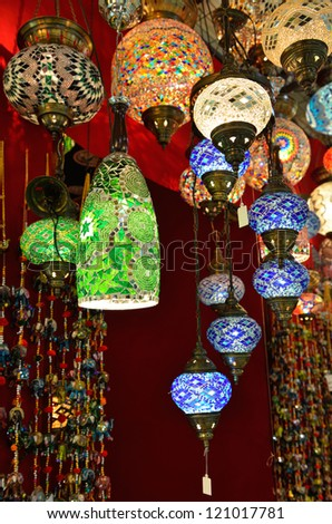 Variety of turkish lamps on sale on the market - stock photo