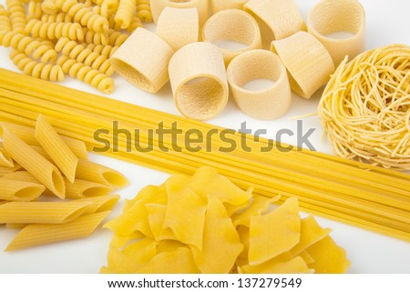 Variety of types and shapes of Italian pasta - stock photo