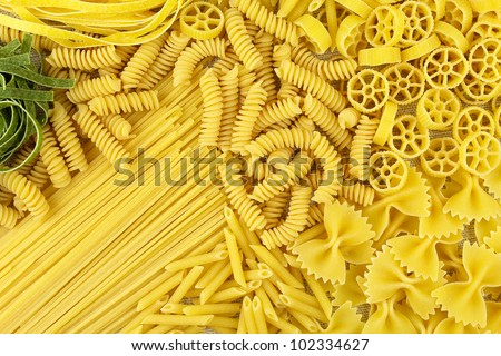 Variety of types and shapes of Italian pasta. Dry pasta background