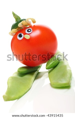 variety of vegetables to make a fun skiing character, concept of healthy eating and living.