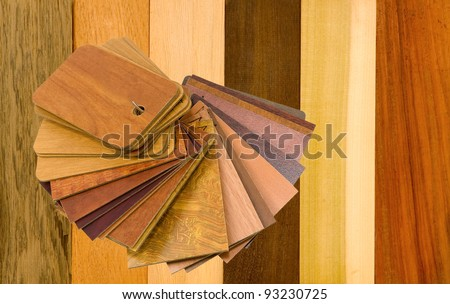 variety of wood panels with laminated samples - stock photo