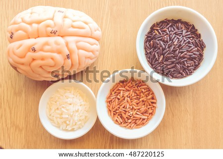 variety rice and brain with vintage color concept