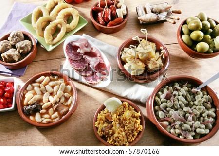 variety spanish tapas - stock photo