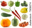 Variety vegetables isolated over white background - stock photo