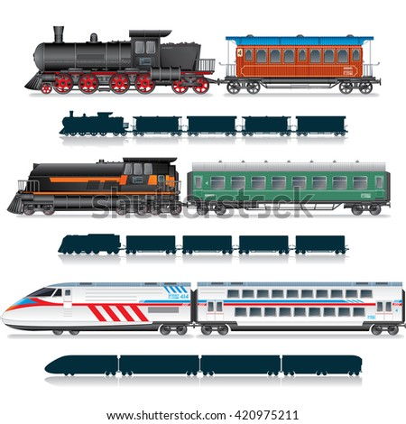 Variety Vintage, Retro and Modern Passenger Train. Collection