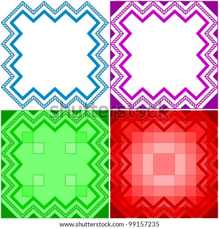 Various abstract backgrounds, geometrical color frames - stock photo