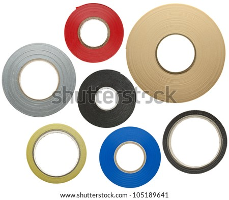 Various adhesive tapes isolated on white background - stock photo