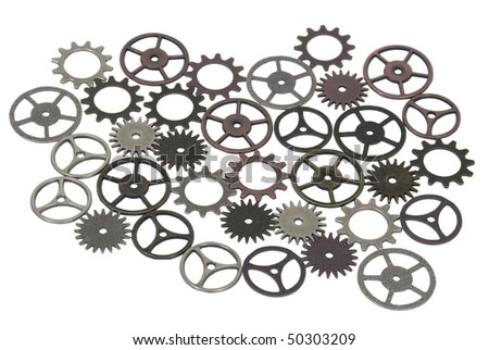 Various antique and retro gears with interlinking teeth and cogs - path included