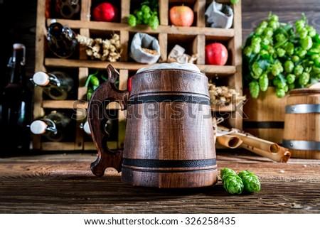 Various apple beer and ingredients - stock photo