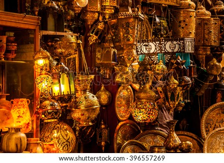 Various arabic antique objects displayed in an old shop in the bazaar. Typical shop in an egyptian market. - stock photo