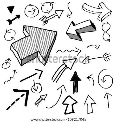 various arrows drawn in doodled style - stock photo