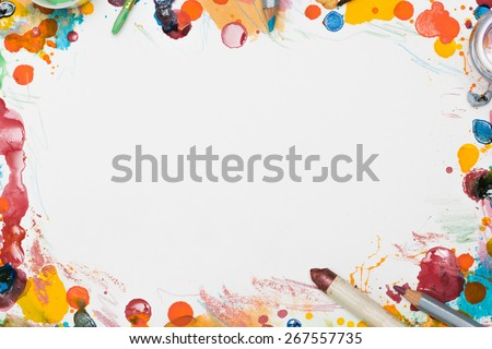 Various artist tools and mess around a page - stock photo