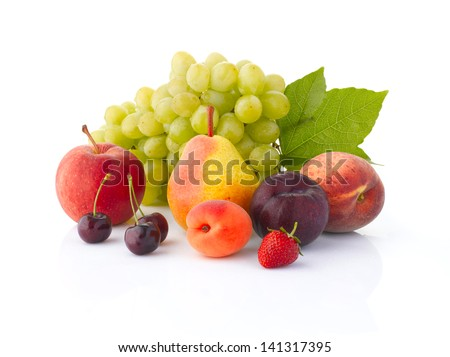 Various, assorted fruits (grape, apple, pear, cherry, apricot, plum, peach,  strawberries) with leaf, isolated on the white background with soft shadow - stock photo