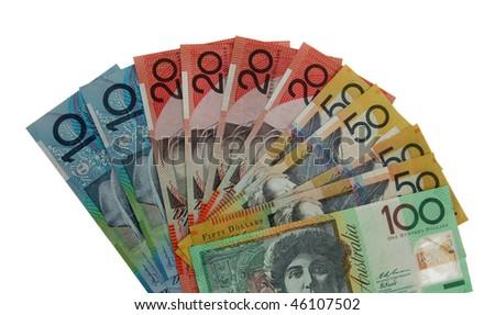 Various Australian banknotes isolated on white - stock photo