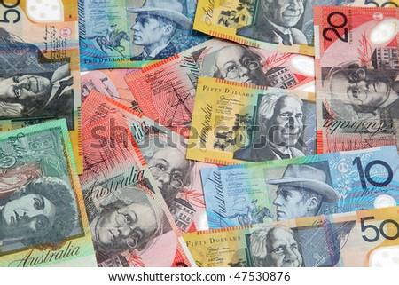 Various Australian banknotes spread randomly - stock photo
