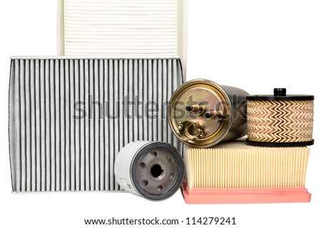Various automotive filters necessary for vehicle service - stock photo
