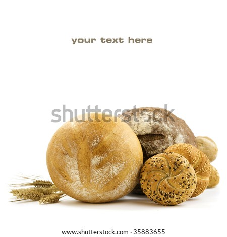 Various baking isolated on white background (with sample text) - stock photo