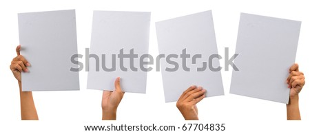 various blank cardboard with hands isolated on white - stock photo