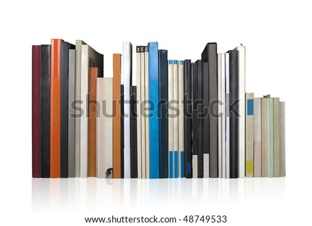 various books in a row, isolated on white background, clipping path, empty labels with free copy space - stock photo