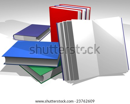 Various books in diverse colors. Green, red, blue. Write your own text  in the covers - stock photo