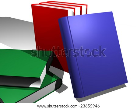 Various books over a white background. Put in the covers your own text - stock photo