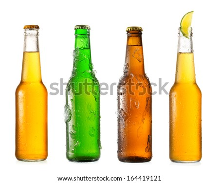 various  bottles of beer isolated on a white background - stock photo