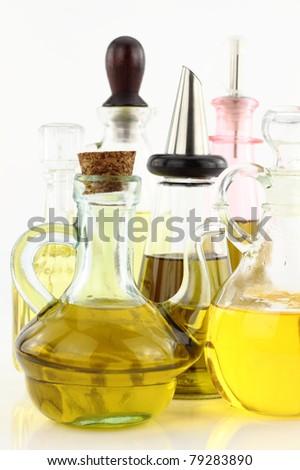 Various bottles of olive oil - stock photo