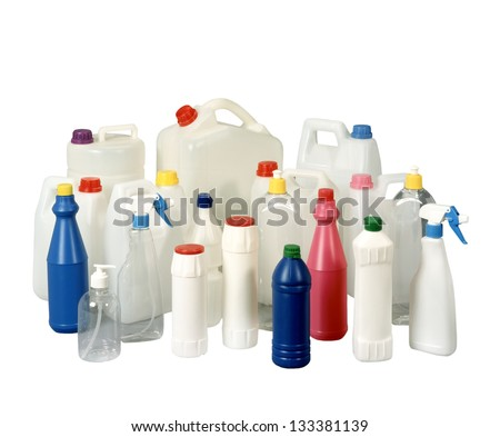 Various bottles with cleaning supplies