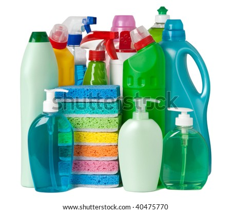 Various bottles with cleaning supplies - stock photo