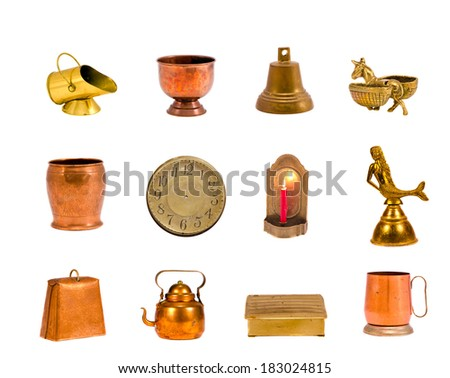 various brass and copper objects collection isolated on white - stock photo