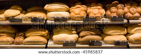 Various bread type on shelf. Bakery shop concept - stock photo