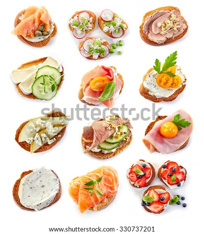 various bruschettas isolated on white background, top view - stock photo