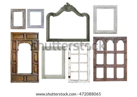 various bundle of wooden vintage window frames isolate with clipping path on white background