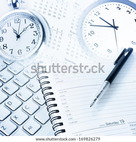 Various business objects. Time management - stock photo