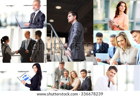 Various business situations presented as a collage - stock photo