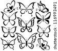 Various butterflies, black contours on white background - stock photo