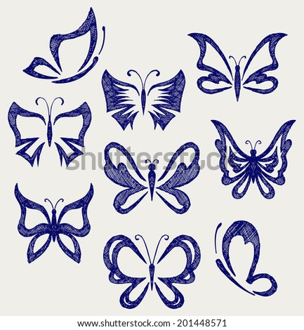 Various butterflies. Doodle style. Raster version - stock photo