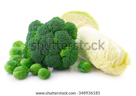 Various cabbage: broccoli, brussels sprouts, pekinensis and white cabbage isolated on white background.