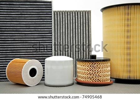 various car filters - stock photo
