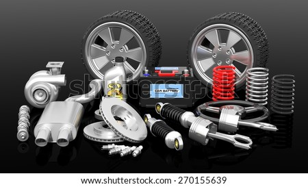 Various car parts and accessories, isolated on black background - stock photo