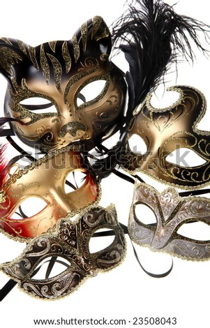 various carnival masks over white background - stock photo