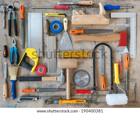 Various carpentry, construction tools on the table - stock photo